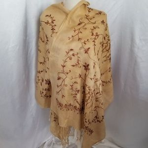 Accessories - Extra Large Floral Embroidered Fringed Shawl Wrap